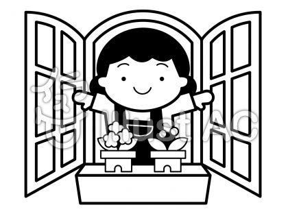 窓の無料フリーイラスト素材白黒モノクロ
