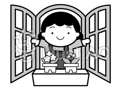 窓の無料フリーイラスト素材グレースケール