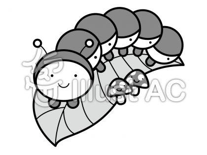 いも虫の無料フリーイラスト素材グレースケール
