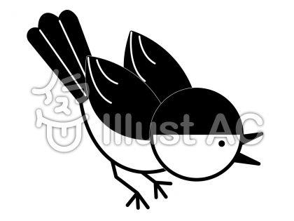雀の無料フリーイラスト素材白黒モノクロ