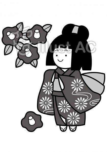 椿と女の子の無料フリーイラスト素材グレースケール