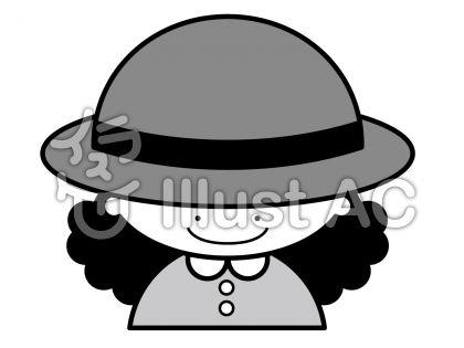 帽子の無料フリーイラスト素材グレースケール