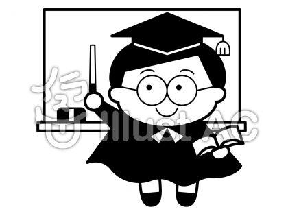 授業の無料フリーイラスト素材白黒モノクロ