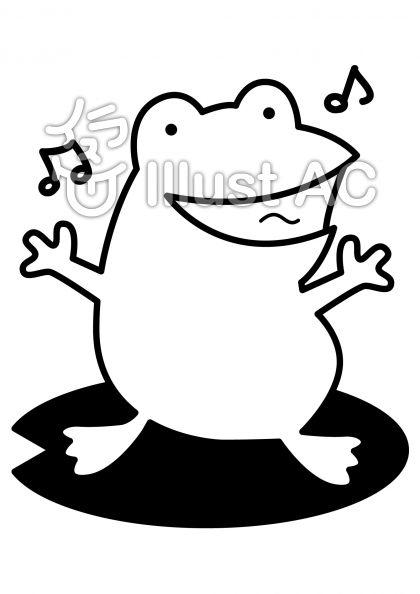 カエルの無料フリーイラスト素材白黒モノクロ