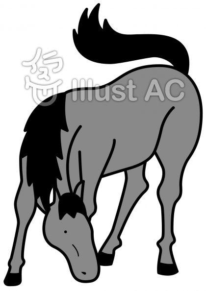 馬の無料フリーイラスト素材グレースケール
