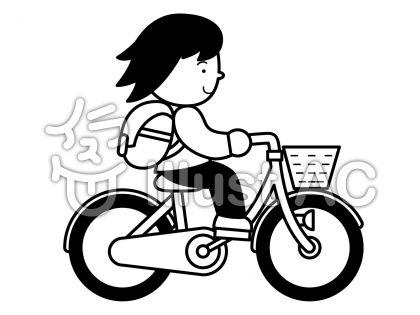 自転車2の無料フリーイラスト素材白黒モノクロ