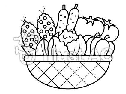 夏野菜の無料フリーイラスト素材白黒モノクロ