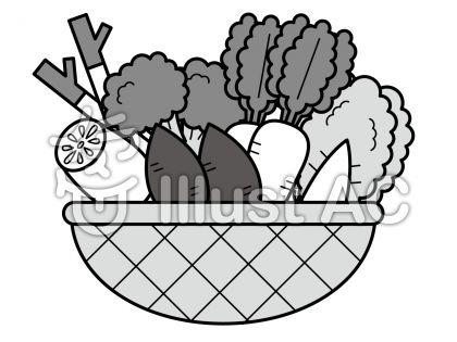 冬野菜の無料フリーイラスト素材グレースケール