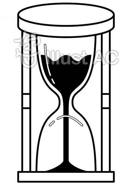 砂時計の無料フリーイラスト素材白黒モノクロ