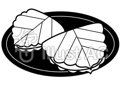 柏餅の無料フリーイラスト素材白黒モノクロ