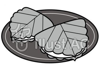 柏餅の無料フリーイラスト素材グレースケール