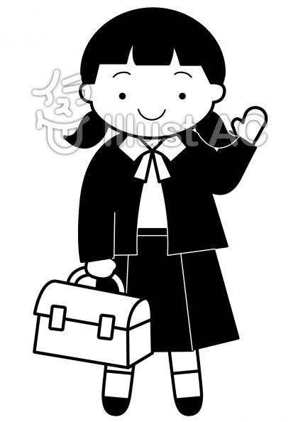 女子中学生の無料フリーイラスト素材白黒モノクロ