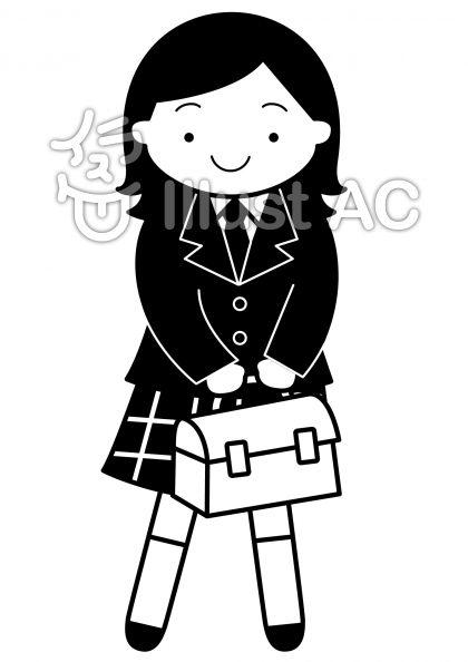 女子高生の無料フリーイラスト素材白黒モノクロ