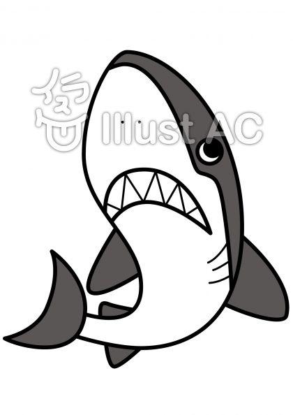 サメの無料フリーイラスト素材グレースケール