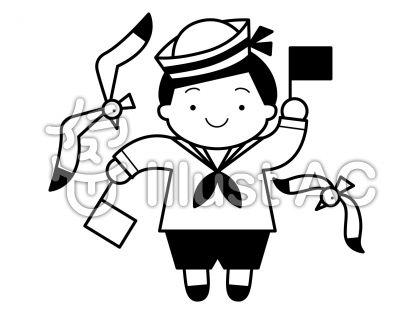 水兵さん2の無料フリーイラスト素材白黒モノクロ