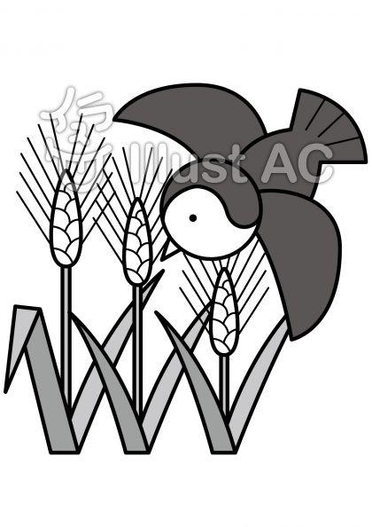稲の無料フリーイラスト素材グレースケール