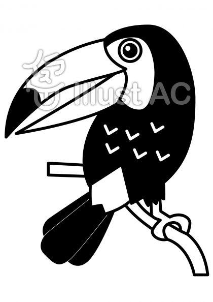 オオハシの無料フリーイラスト素材白黒モノクロ