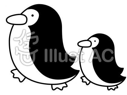 ペンギンの無料フリーイラスト素材白黒モノクロ