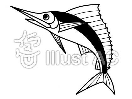 カジキマグロの無料フリーイラスト素材白黒モノクロ