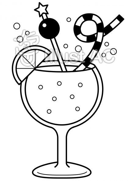 ジュースの無料フリーイラスト素材白黒モノクロ
