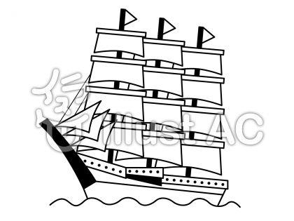 帆船の無料フリーイラスト素材白黒モノクロ