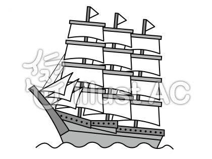 帆船の無料フリーイラスト素材グレースケール