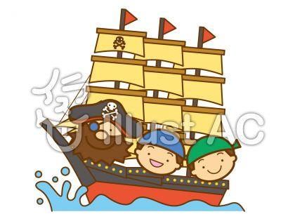 海賊船の無料フリーイラスト素材