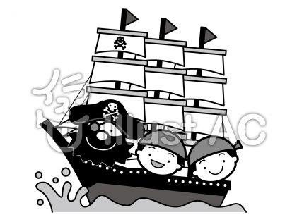 海賊船の無料フリーイラスト素材グレースケール