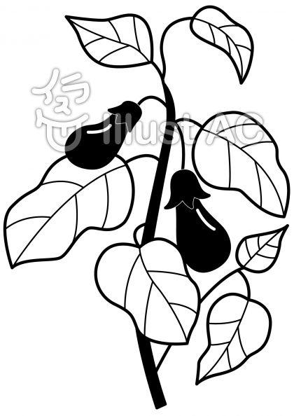 なすの無料フリーイラスト素材白黒モノクロ
