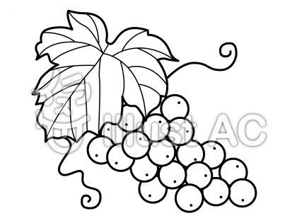 ぶどうの無料フリーイラスト素材白黒モノクロ