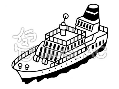 客船の無料フリーイラスト素材白黒モノクロ
