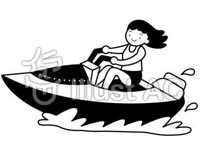 モーターボートの無料フリーイラスト素材白黒モノクロ