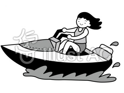 モーターボートの無料フリーイラスト素材グレースケール