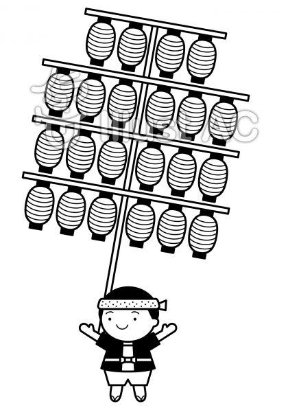 竿燈の無料フリーイラスト素材白黒モノクロ