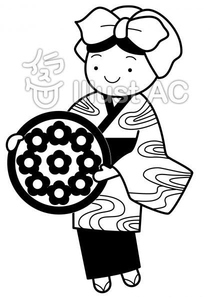 花笠音頭の無料フリーイラスト素材白黒モノクロ