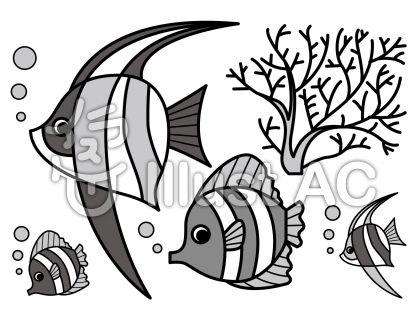 熱帯魚の無料フリーイラスト素材グレースケール