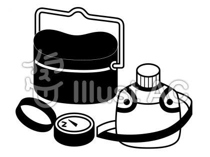 キャンプセットの無料フリーイラスト素材白黒モノクロ