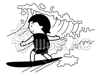 サーフィンの無料フリーイラスト素材白黒モノクロ