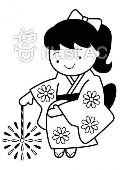 線香花火の無料フリーイラスト素材白黒モノクロ