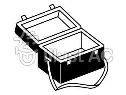 クーラーボックスの無料フリーイラスト素材白黒モノクロ