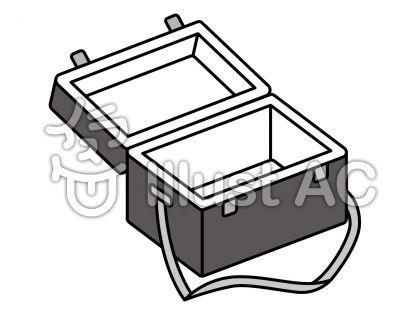 クーラーボックスの無料フリーイラスト素材グレースケール
