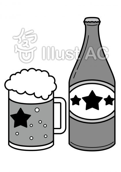 ビールの無料フリーイラスト素材グレースケール
