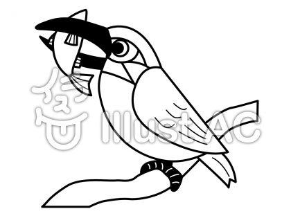 カワセミの無料フリーイラスト素材白黒モノクロ