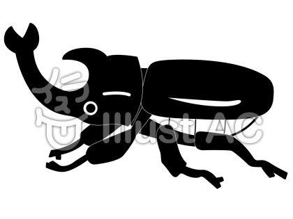 カブトムシの無料フリーイラスト素材白黒モノクロ