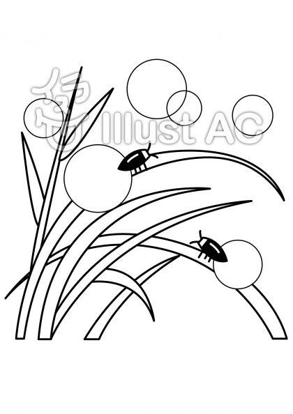 蛍の無料フリーイラスト素材白黒モノクロ