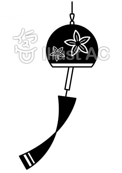 風鈴の無料フリーイラスト素材白黒モノクロ