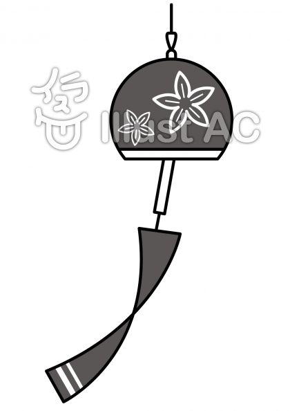 風鈴の無料フリーイラスト素材グレースケール