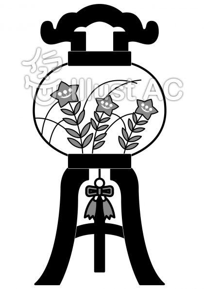 灯籠の無料フリーイラスト素材グレースケール