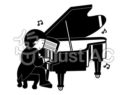 グランドピアノの無料フリーイラスト素材白黒モノクロ