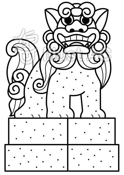 狛犬の無料フリーイラスト素材白黒モノクロ
